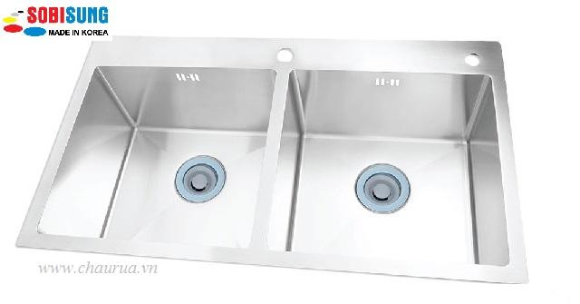 Chậu rửa bát đúc 2 hố cân Sobisung SB 8246