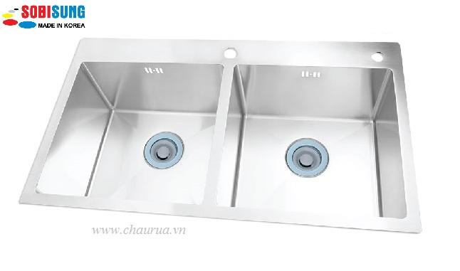 Chậu rửa bát đúc 2 hố cân Sobisung SB 8248