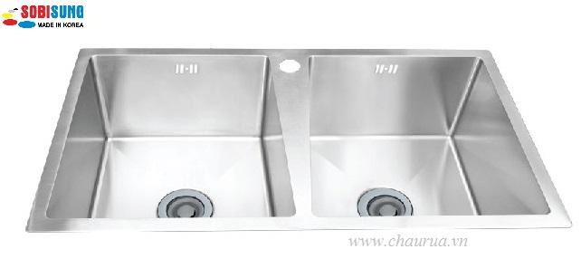 Chậu rửa bát đúc 2 hố cân Sobisung SB 8546