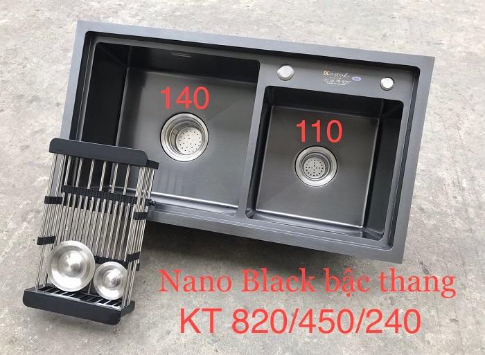Chậu đúc Nano Kagol Sus304 8245BT (hố lệch)